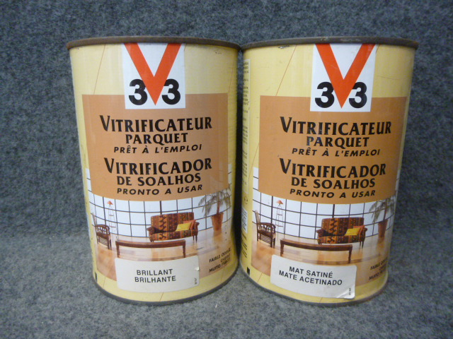Vitrificateur parquet brillant ou mat satin v33 l for Parquet mat ou satine