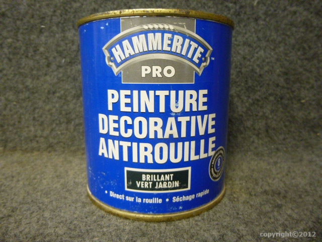 Peinture fer hammerite direct sur rouille 500 ml hammerite for Peinture sur fer rouille