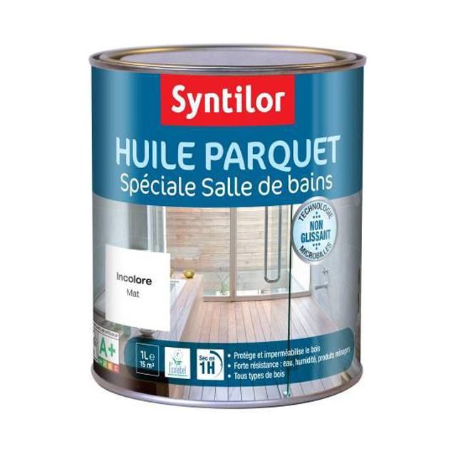 huile parquet sp ciale salle de bains incolore syntilor 1l. Black Bedroom Furniture Sets. Home Design Ideas