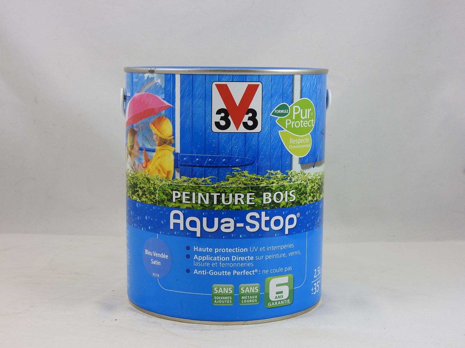 peinture sp cial bois microporeuse aqua stop v33 2 5l v33 aqua stop v33 2 5l peinture lasure. Black Bedroom Furniture Sets. Home Design Ideas
